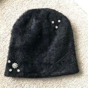 Karl Lagerfeld Paris Black Beanie Hat
